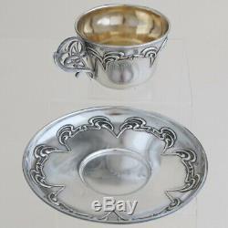 ART NOUVEAU Antique French Sterling Silver Tea Coffee Cup & Saucer Set Gold Gilt