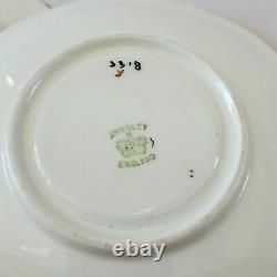 AYNSLEY 3318 Pattern Trio Set Cup Saucer Pink Roses Swag Bow Tie Gold Trim