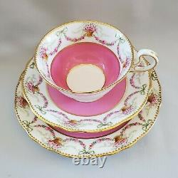 AYNSLEY 3318 Pattern Trio Set Cup Saucer Pink Roses Swag Bow Tie Gold Trim AS IS