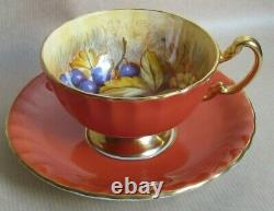 AYNSLEY CHINA ORCHARD GOLD RUST COLOURED FOOTED TEA CUP & SAUCER JONES (Ref6440)