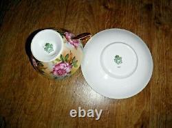 AYNSLEY Cup & Saucer 1026 Rose Brocade 1st Gold Trim Excellent
