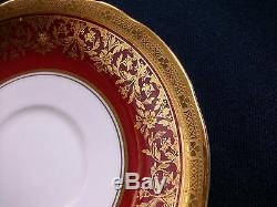 AYNSLEY KENILWORTH RED #7023 (1930's)- CUP & SAUCER (s)- ENCRUSTED GILT! RARE