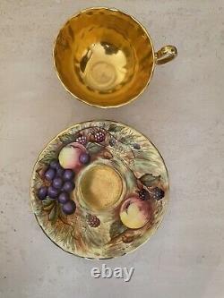 AYNSLEY ORCHARD GOLD CUP & SAUCER signed N. BRUNT