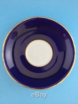 AYNSLEY TALL SHIP ARTIST SIGNED CUP & SAUCER, COBALT BLUE w GOLD TRIM EXCELLENT