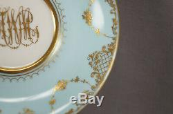 Ambrosius Lamm Dresden Courting Couple Blue Raised Gold Oversized Cup & Saucer