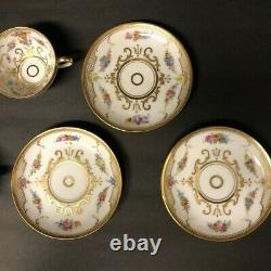 Ambrosius Lamm Dresden Handpainted Flowers Gold 3 Sets Cups Saucers