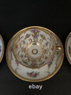 Ambrosius Lamm Dresden Handpainted Flowers Gold Cup Saucer