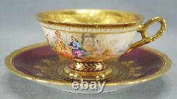 Ambrosius Lamm Dresden Watteau Scene Purple Luster Raised Gold Cup & Saucer