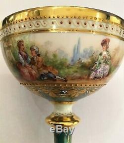 Ambrosius Lamm Dresden hand painted luster pedestal cup saucer