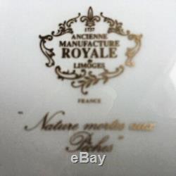 Ancienne Royale De Limoges Nature Mortes Aux Peches Cup & Saucer Blue Gold