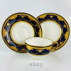 AntiqueMintonCobalt Blue TrioCup & SaucerHand Painted EnamelGold Gilt1917