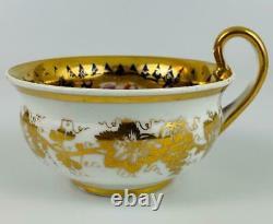 AntiqueTea + Coffee Cup & SaucerTrioNantgarwCoalportc1820Gold Gilt#840