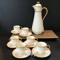 Antique 1930s Guerin Limoges Chocolate Pot 4 Cups Saucers Heavy Gold Deco France