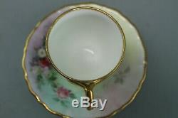 Antique 19th C Minton Cup & Saucer Hand Painted Gilded Flowers