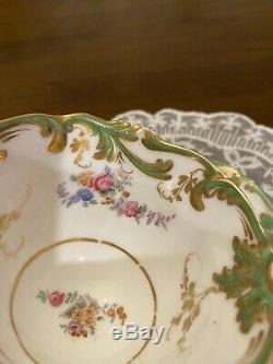 Antique 19th Century H & R HR Daniel Floral & Gold Tea Cup & Saucer #1919 c1835