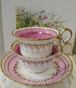 Antique 19th Century Minton Pink & Gold Gadroon Tea Cup & Saucer True Trio Set