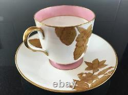 Antique 19th c. English Gold And Pink Luster Tea Cup & Saucer & Matching Plate