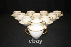 Antique 21 Pc. M. Redon & Elite Works Limoges Cups and Saucers White, Gold trim