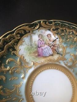 Antique Ambrosius Lamm Dresden Hand Painted Raised Gold Cup Saucer Watteau