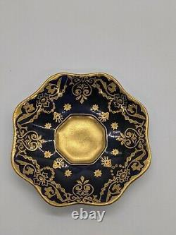 Antique COALPORT 1875 Enameled Jeweled Gilded Porcelain Cup & Saucer 6-21-208