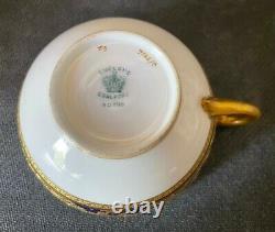 Antique COALPORT Cobalt Blue Gilded Gold Cup & Saucer c. 1890s