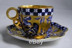 Antique COALPORT England Demitasse Cup & Saucer Birds Cobalt Blue & Gold c. 1900