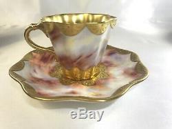 Antique COALPORT Tea Cup & Saucer Set-Pink Marmol Look & Gold England AD 1750