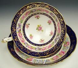 Antique Cauldon Morning Glory Cobalt Blue Gold Tea Cup & Saucer For Tiffany & Co