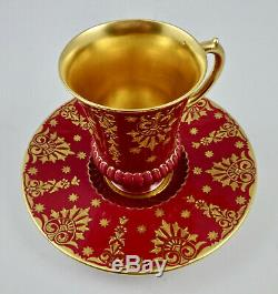 Antique Coalport Chocolate Cup & Saucer