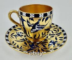 Antique Coalport Demitasse Cup & Saucer, Birds & Bamboo