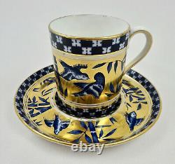 Antique Coalport Demitasse Cup & Saucer, Blue Birds
