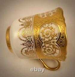 Antique Coalport Demitasse Cup & Saucer, Encrusted Gold