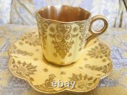 Antique Coalport Demitasse Cup Saucer Yellow Jeweled Gilded Gold