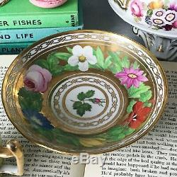 Antique Coalport Marquess of Anglesey cup and saucer circa 1820. Gold floral