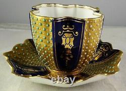 Antique Coalport Miniature Jeweled Cobalt & Gold Quatrefoil Cup & Saucer