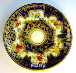 Antique Crown Staffordshire Miniature Cup, Saucer & Spoon Cobalt Blue&Gold