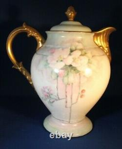 Antique D & C Limoges France Chocolate/ Coffee/ Tea Pot With 6 Cups & Saucers