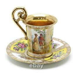 Antique Dresden Ambrosius Lamm Gold Demitasse Cup & Saucer Couple Flower Germany