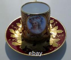 Antique Dresden Porcelain Princess De Lamballe Portrait On Cup & Saucer