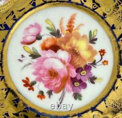 Antique FloralCup & SaucerTrioNantgarwCoalportc1820Gold GiltEmpire#840
