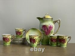 Antique Germany Chocolate Coffee Pot 6 Demitasse Cups Saucers Green Roses Gold
