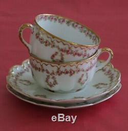 Antique Haviland Limoges 2 Cups & Saucers Pink Roses Double Gold
