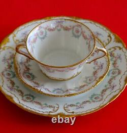 Antique Haviland Limoges Cup Saucer Plate Trio Pink Roses Wreath Double Gold