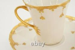 Antique Haviland Limoges France Gold Chocolate Pot Set with 6 Cups & 7 Saucers