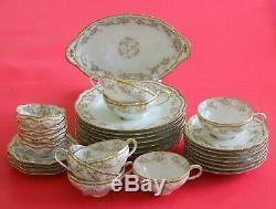 Antique Haviland Limoges Set Cup Saucer Ramekin Pink Roses Double Gold Schl# 844