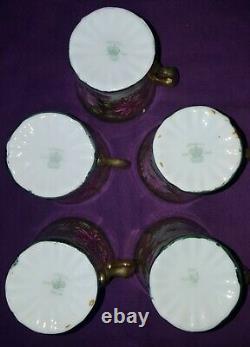 Antique Imperial Seto Yaki Okan Gold Moriage Chocolate Set Pot Cup Saucer Japan
