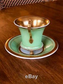 Antique Kpm Berlin Gilt Cabinet Cup & Saucer Paw Foot Biedermeier