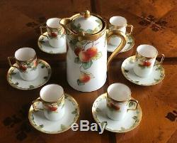 Antique LIMOGES CORONET 13 Pc Chocolate Set Cups Saucers Pot Signed BARIN FRANCE