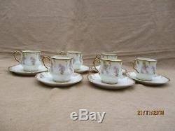 Antique Limoges Art Nouveau Porcelain 6 Coffee Cup & Saucer Wistaria Gold Rim(a)