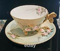 Antique Limoges Roses Dragonfly Figural Handle Cup & Saucer Footed Gold